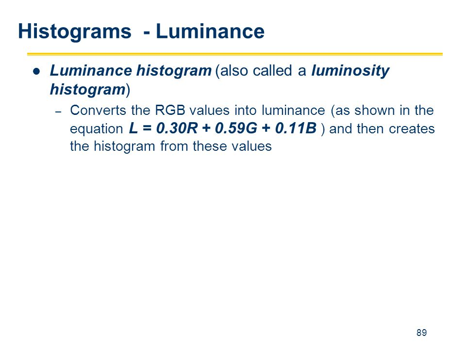 Histograms - Luminance