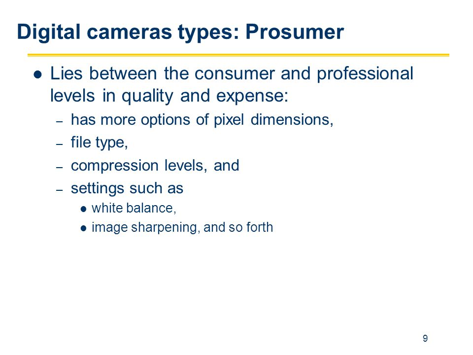 Digital cameras types: Prosumer