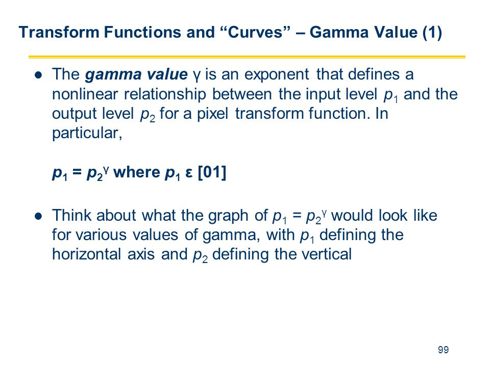 Transform Functions and Curves – Gamma Value (1)