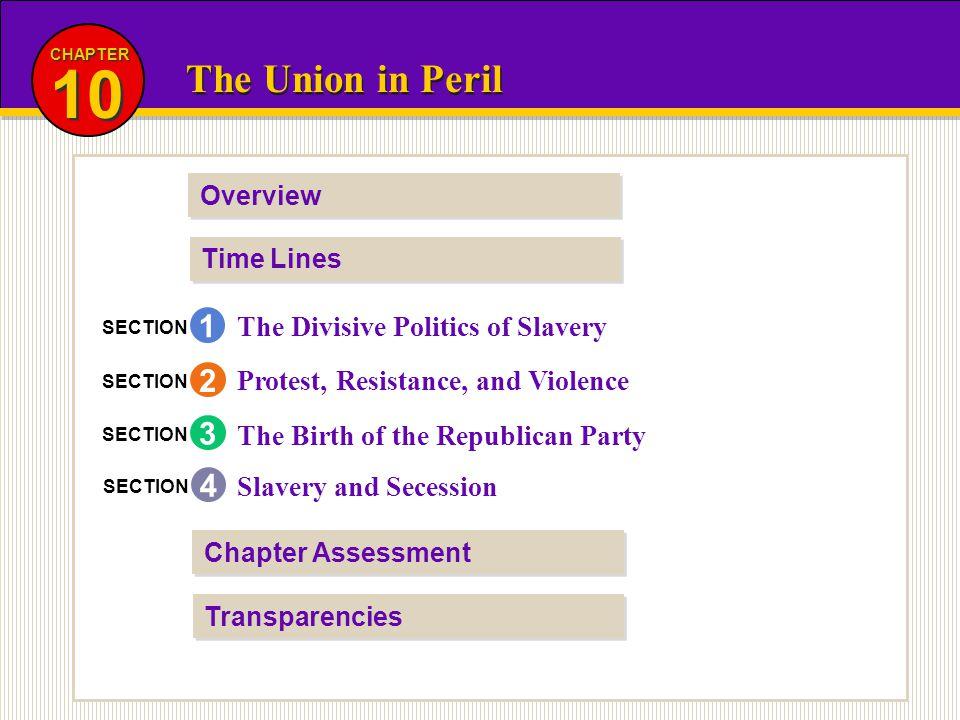 10 The Union in Peril 1 2 3 4 The Divisive Politics of Slavery