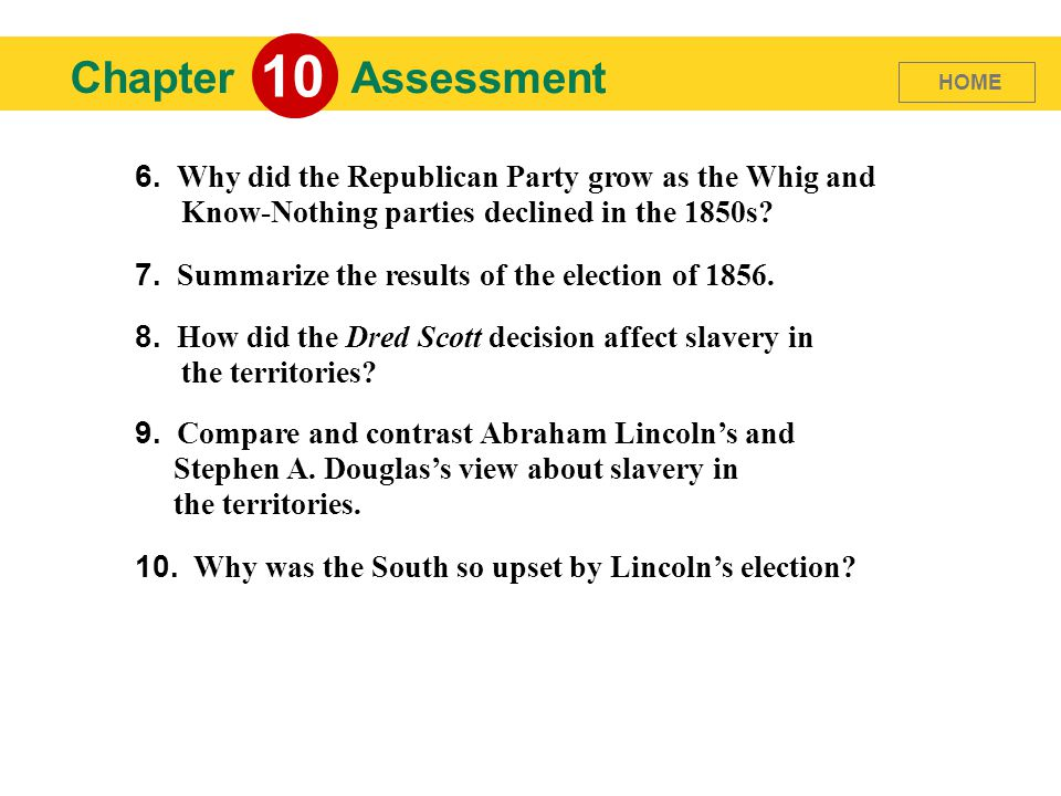 10 Chapter. Assessment. HOME. 6. Why did the Republican Party grow as the Whig and Know-Nothing parties declined in the 1850s