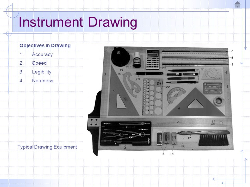 Instrument Drawing Objectives in Drawing Accuracy Speed Legibility