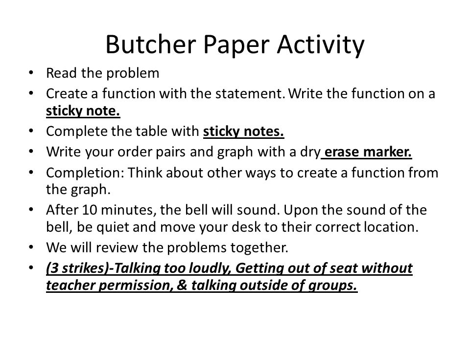 Butcher Paper Activity