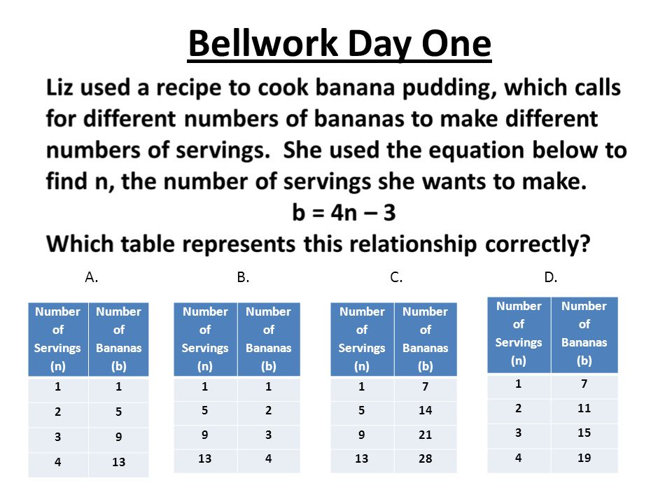 Bellwork Day One A. B. C. D. Number of Servings (n)