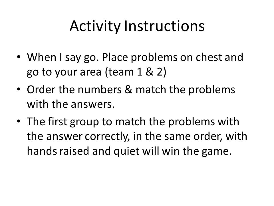 Activity Instructions