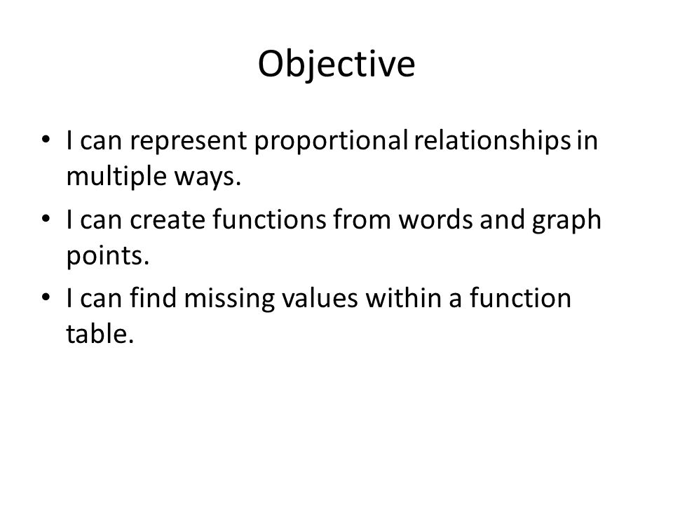 Objective I can represent proportional relationships in multiple ways.