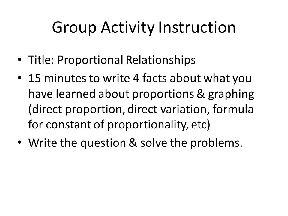 Group Activity Instruction