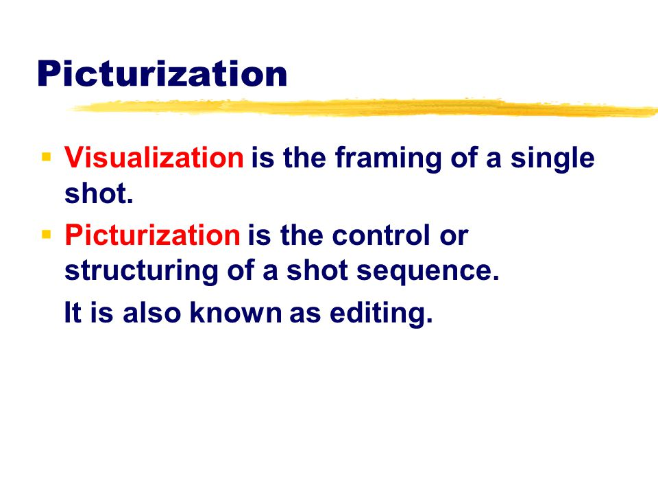 Picturization Visualization is the framing of a single shot.
