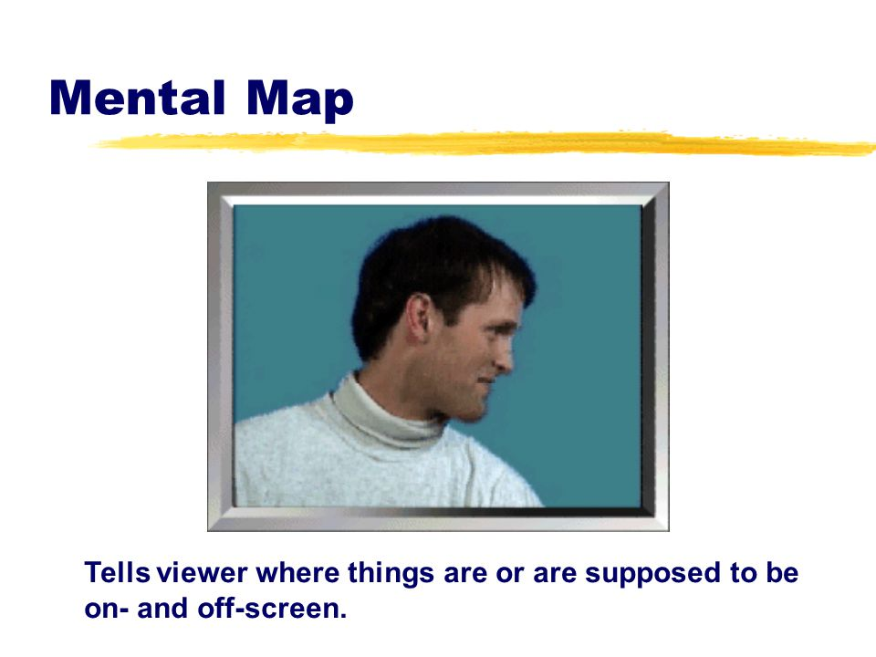 Mental Map Tells viewer where things are or are supposed to be on- and off-screen.