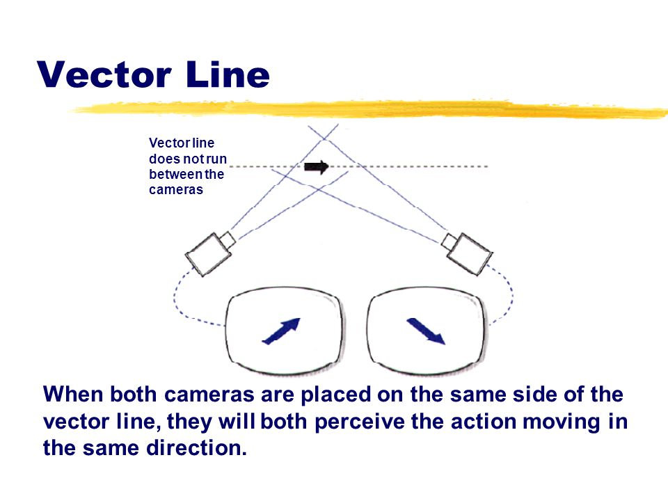 Vector Line Vector line. does not run. between the. cameras.