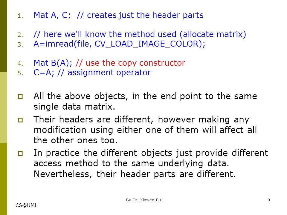 Mat A, C; // creates just the header parts