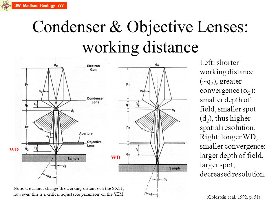 Condenser & Objective Lenses: working distance