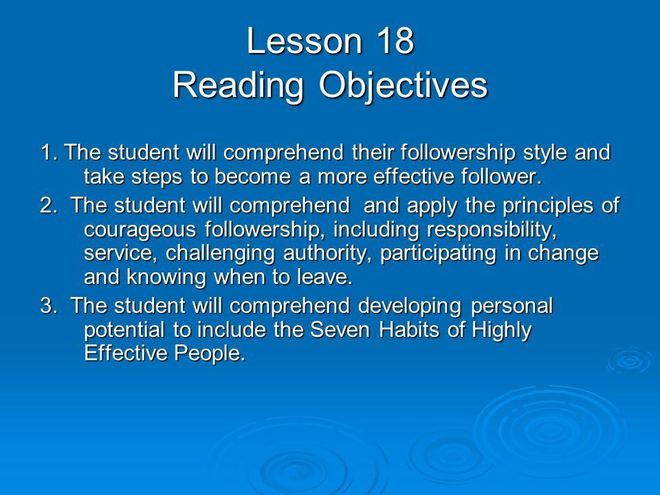 Lesson 18 Reading Objectives