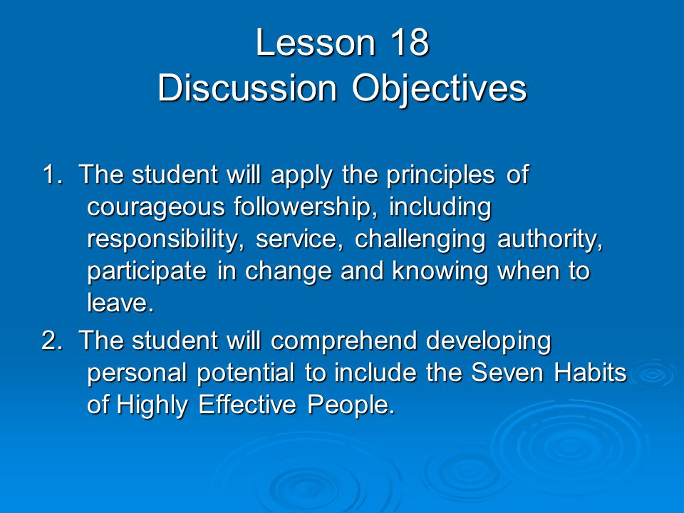 Lesson 18 Discussion Objectives