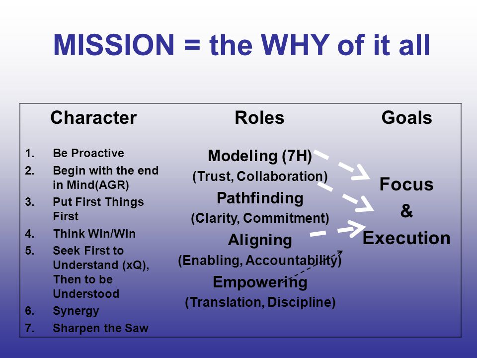MISSION = the WHY of it all