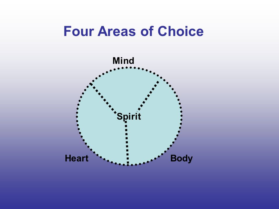 Four Areas of Choice Mind Spirit Heart Body