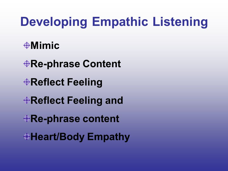 Developing Empathic Listening