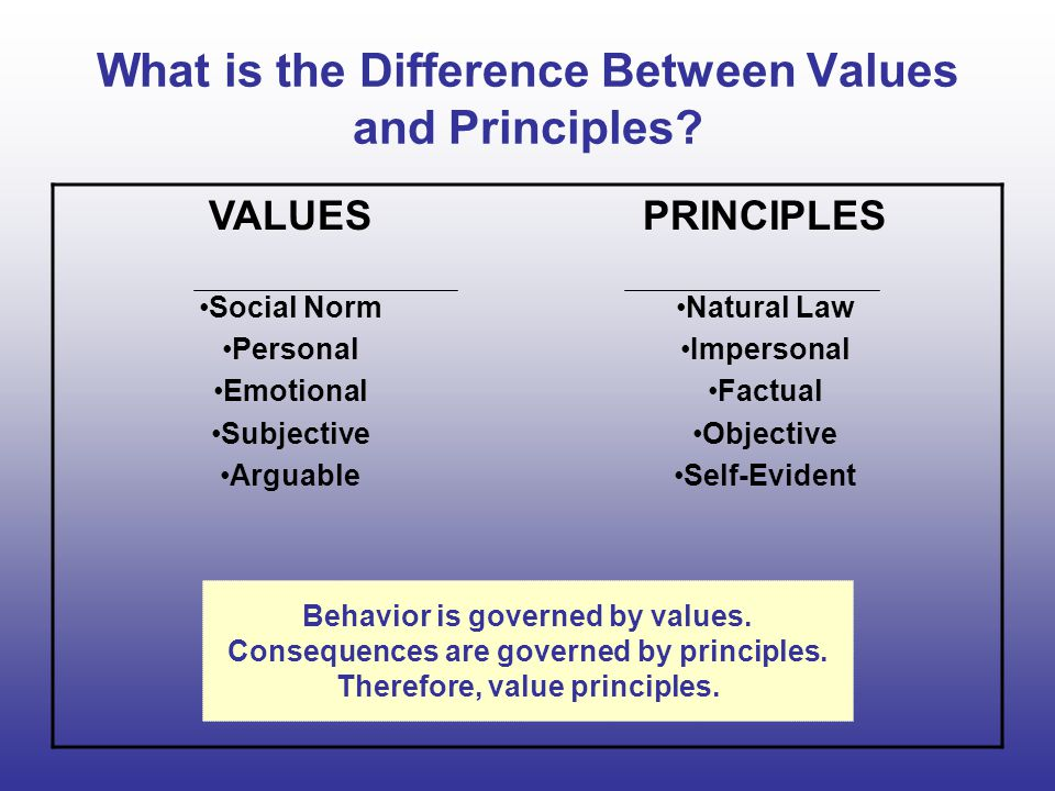 What is the Difference Between Values and Principles