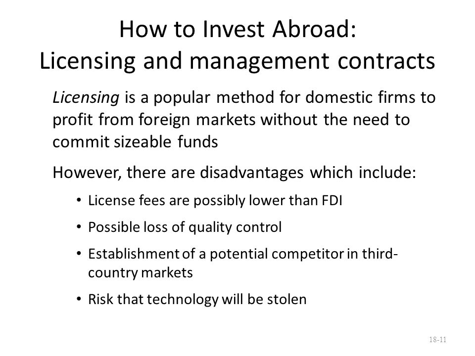 How to Invest Abroad: Licensing and management contracts