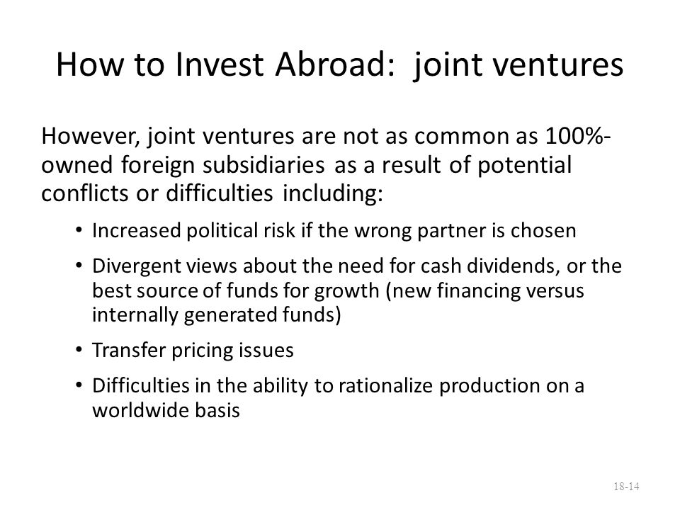 How to Invest Abroad: joint ventures