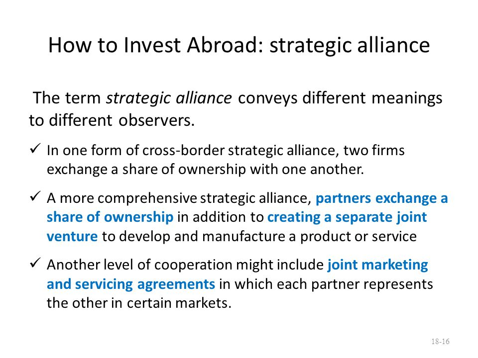How to Invest Abroad: strategic alliance