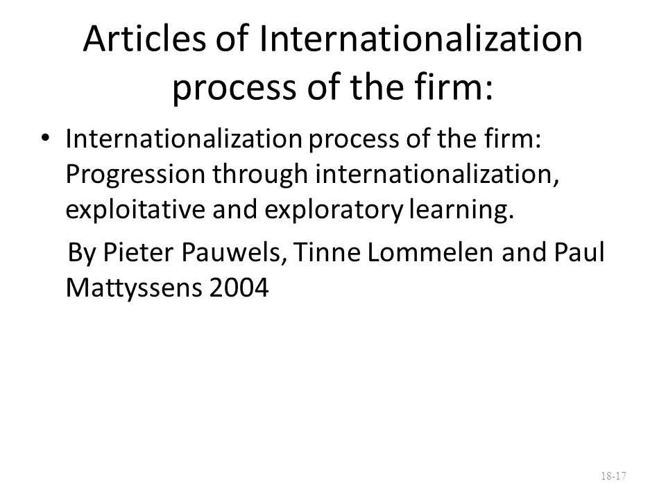 Articles of Internationalization process of the firm:
