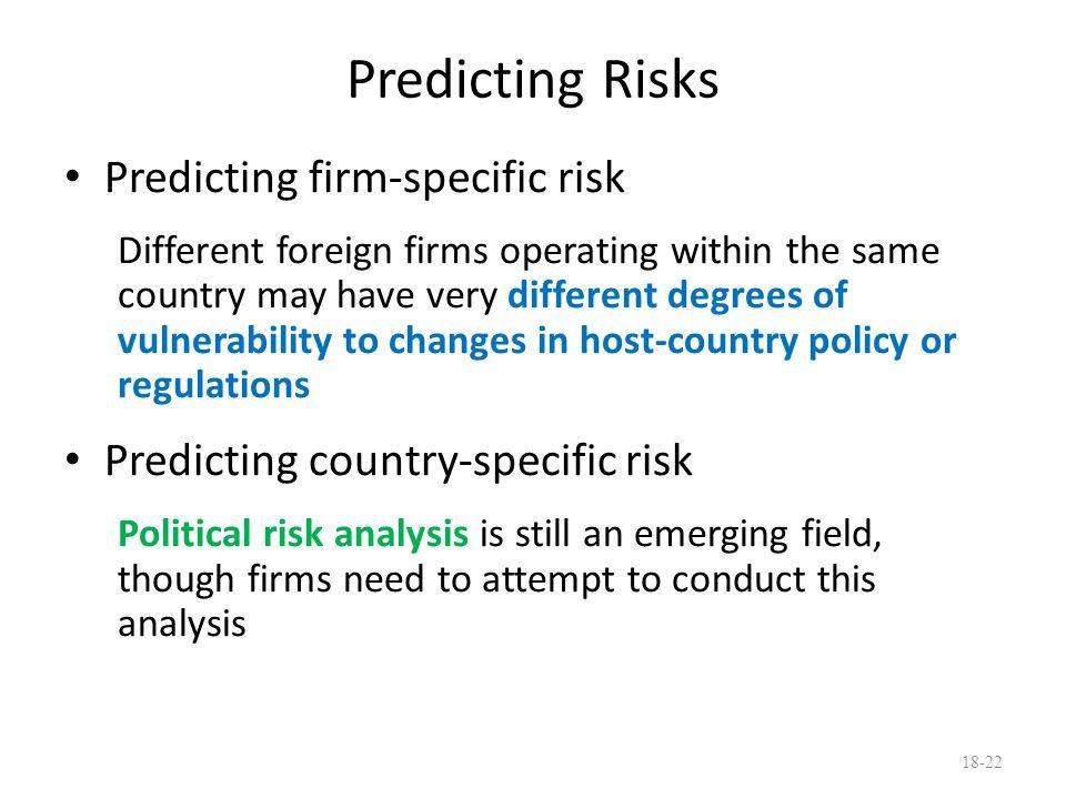 Predicting Risks Predicting firm-specific risk