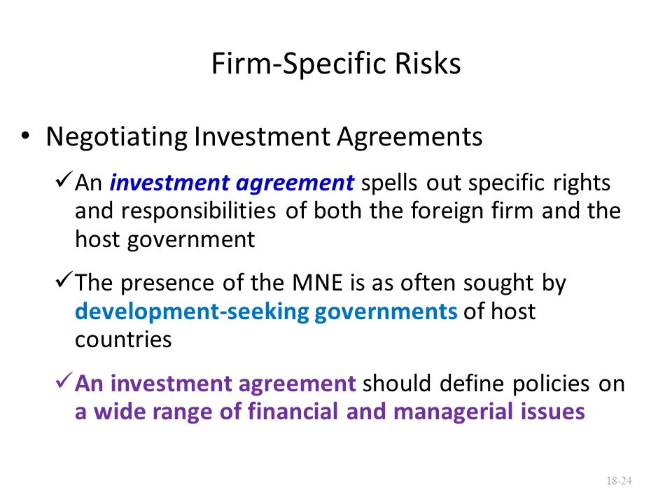 Firm-Specific Risks Negotiating Investment Agreements