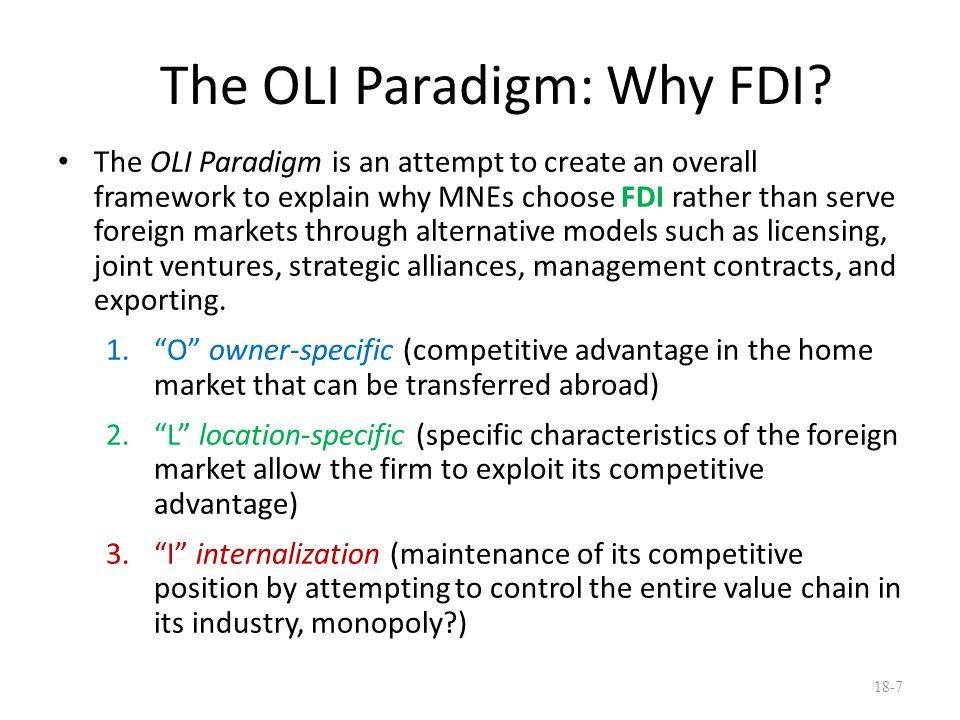 The OLI Paradigm: Why FDI