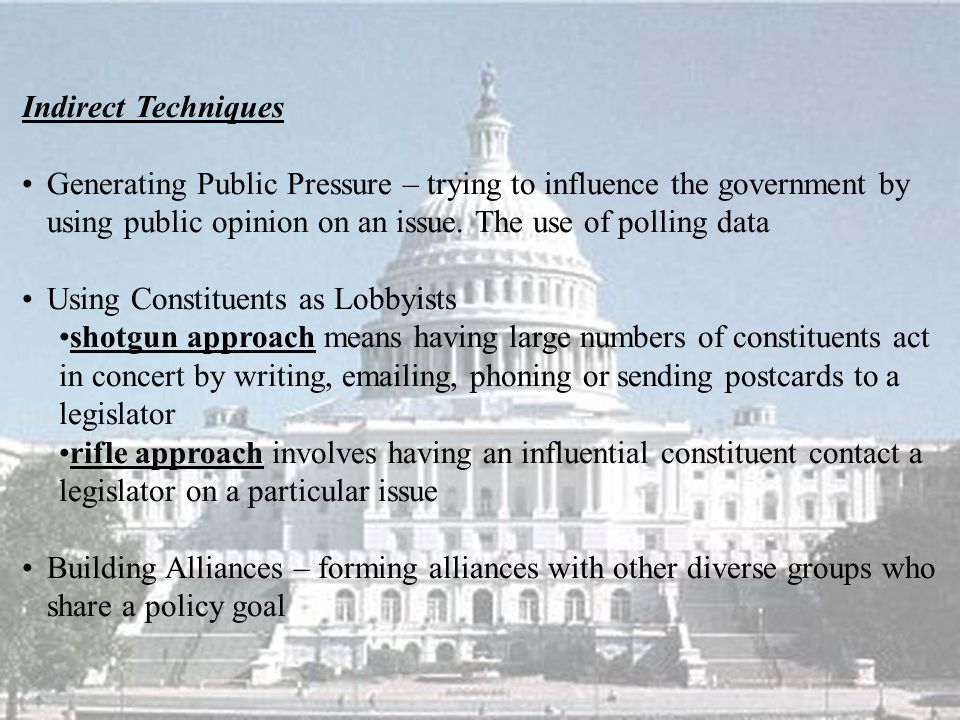 Indirect Techniques Generating Public Pressure – trying to influence the government by using public opinion on an issue. The use of polling data.