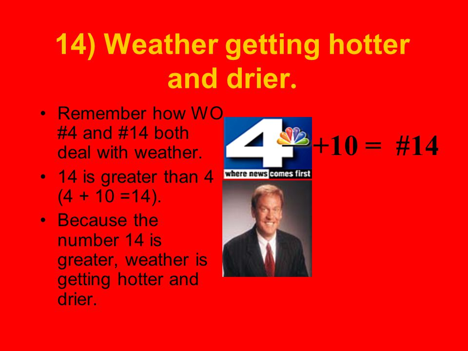 14) Weather getting hotter and drier.