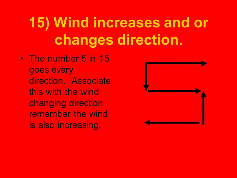 15) Wind increases and or changes direction.