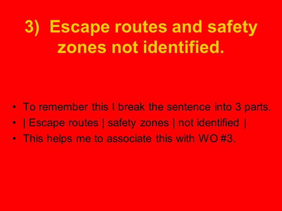 3) Escape routes and safety zones not identified.