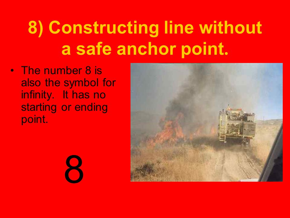 8) Constructing line without a safe anchor point.