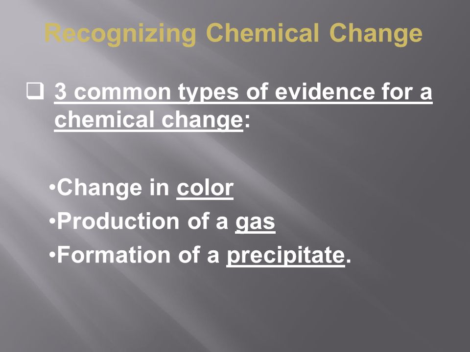 Recognizing Chemical Change