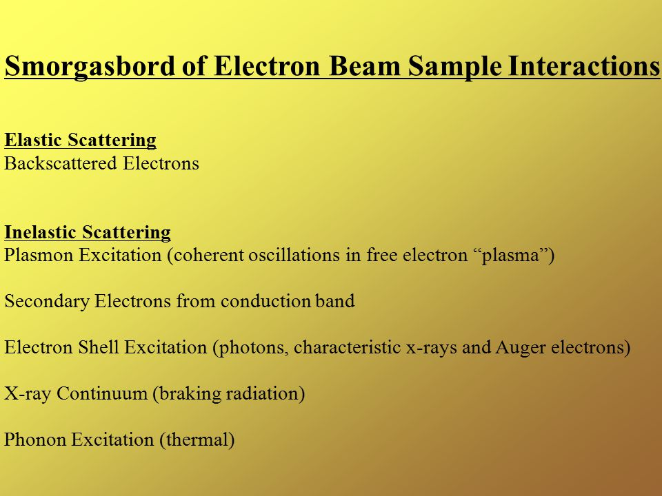 Smorgasbord of Electron Beam Sample Interactions