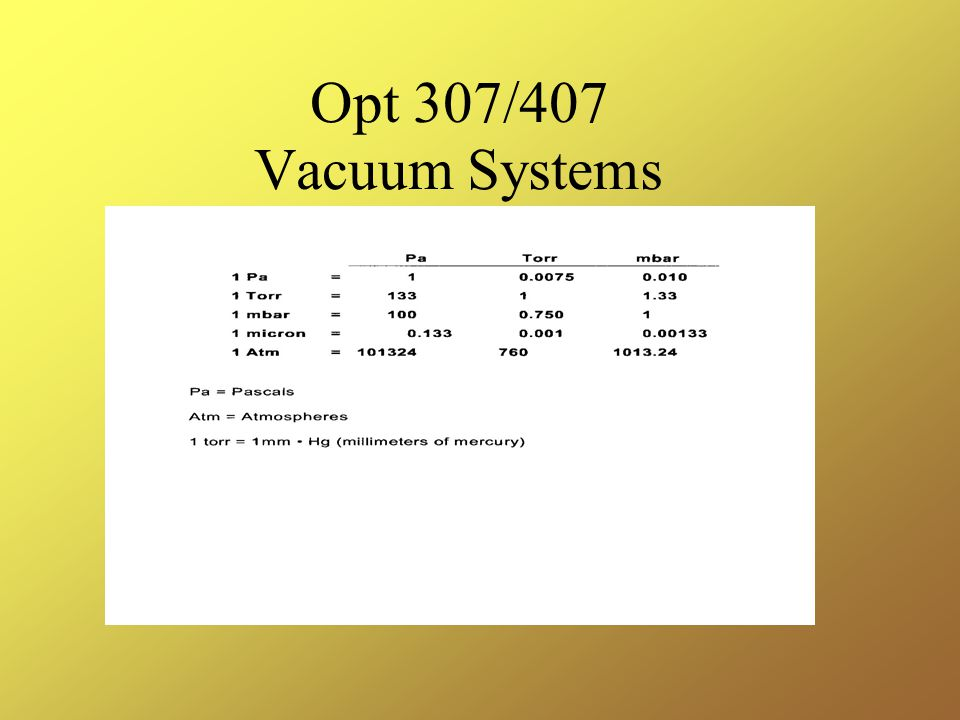 Opt 307/407 Vacuum Systems