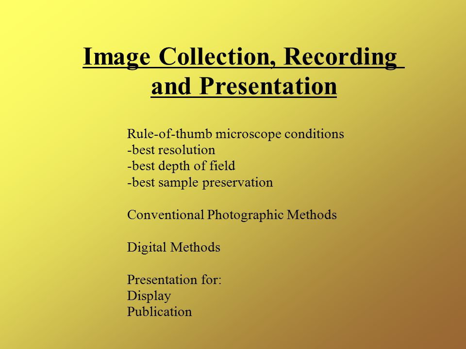 Image Collection, Recording