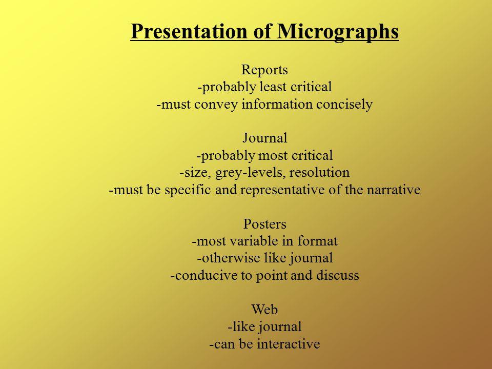 Presentation of Micrographs