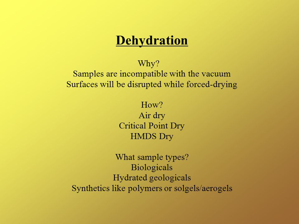 Dehydration Why Samples are incompatible with the vacuum