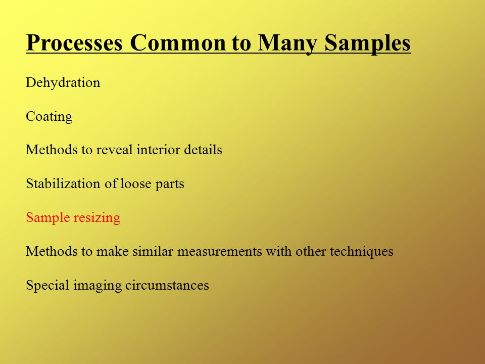 Processes Common to Many Samples