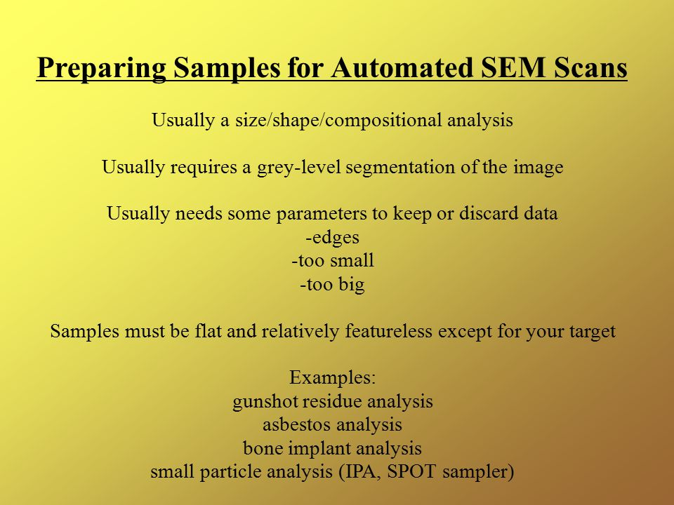 Preparing Samples for Automated SEM Scans
