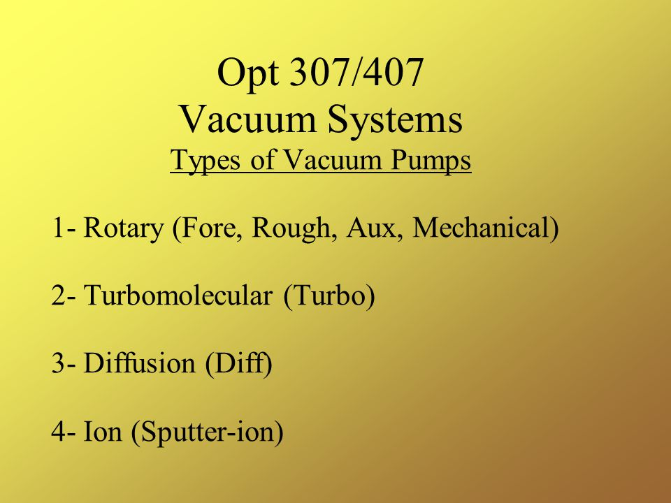 Opt 307/407 Vacuum Systems Types of Vacuum Pumps