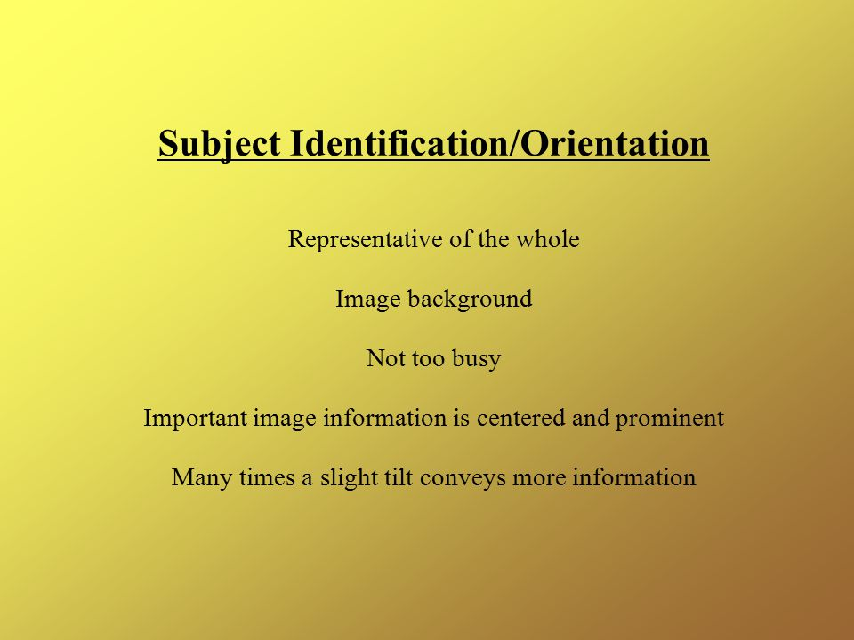 Subject Identification/Orientation