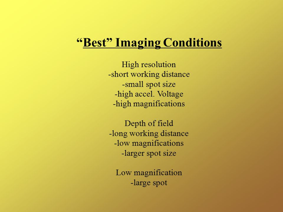 Best Imaging Conditions