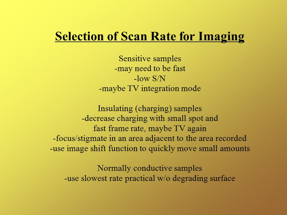 Selection of Scan Rate for Imaging