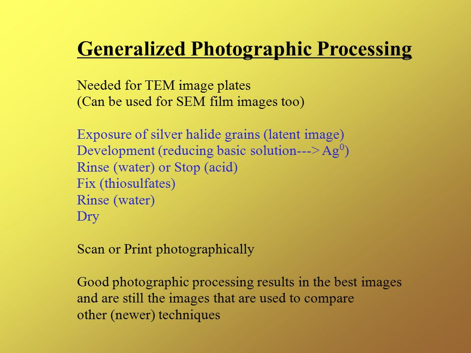 Generalized Photographic Processing