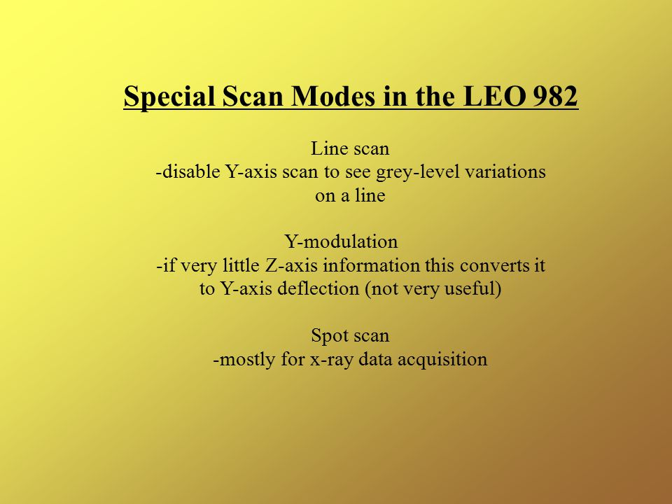 Special Scan Modes in the LEO 982