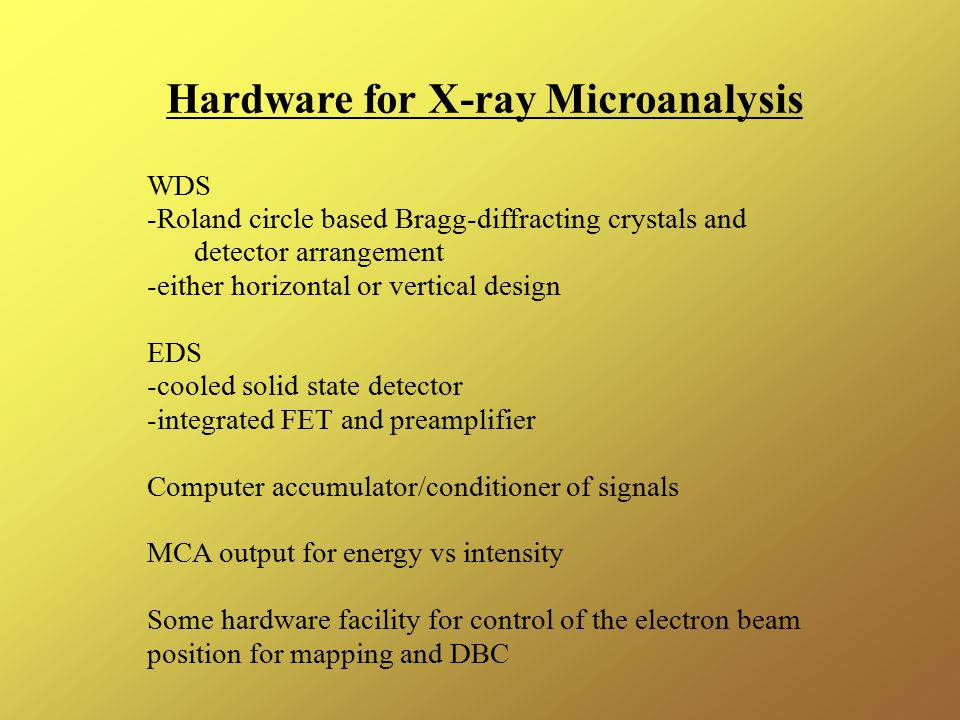 Hardware for X-ray Microanalysis