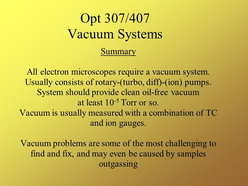 Opt 307/407 Vacuum Systems Summary